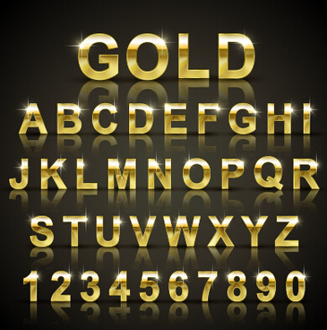 shining gold letters and numbers vector