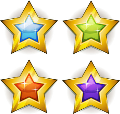 shining gold stars icons vector