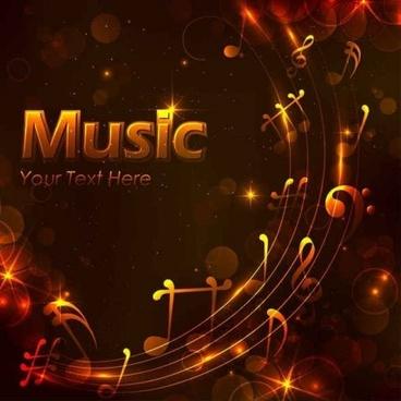 shining golden music design background vector