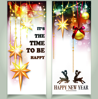 shiny14 merry christmas banners design vector
