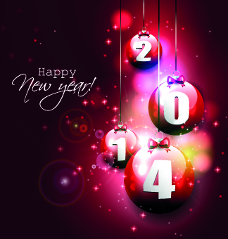 shiny14 new year ornaments baubles background vector