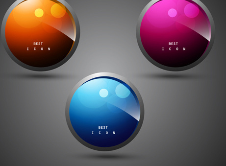 shiny 3d creative icon vector