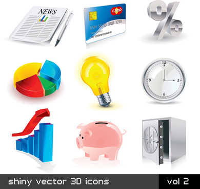 shiny 3d logos and icons design vector