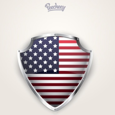 shiny american shield hanging on the wall