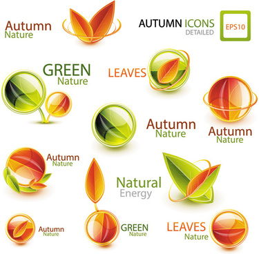 shiny autumn logos creative design vector
