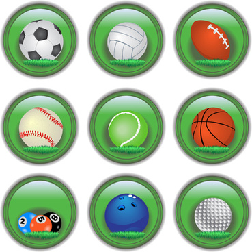 shiny ball icons set vector