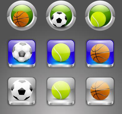 shiny ball icons set vector