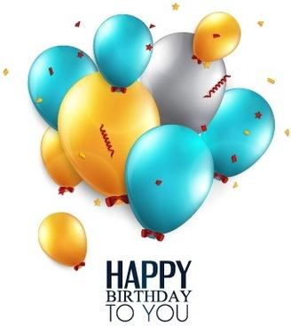 shiny balloon happy birthday design vector