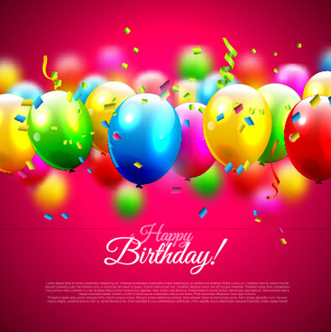 shiny balloon with colorful confetti birthday backgrounds vector