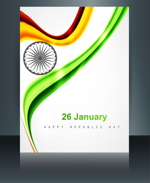 shiny beautiful indian flag wave brochure template background reflection vector