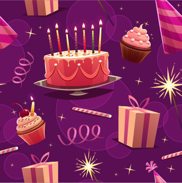 Shiny Birthday Pattern Seamless Vector