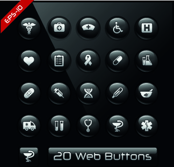 shiny black web button design vector