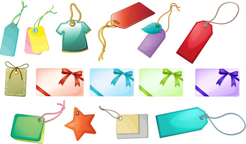 shiny blank tags and gift cards vector