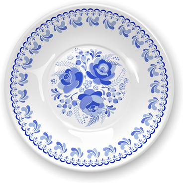 shiny blue and white porcelain vector