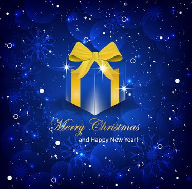 shiny blue christmas backgroun with gift box vector