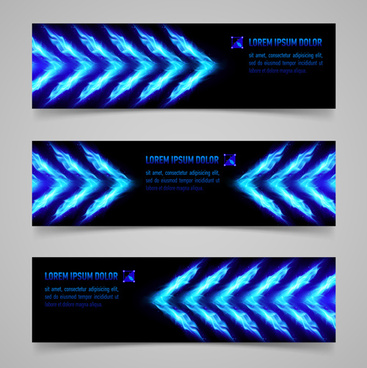 shiny blue elements banners vector set