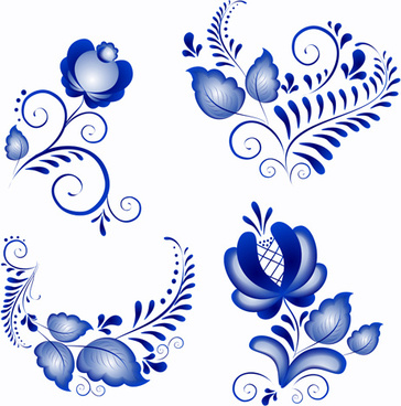 shiny blue flower ornaments vector