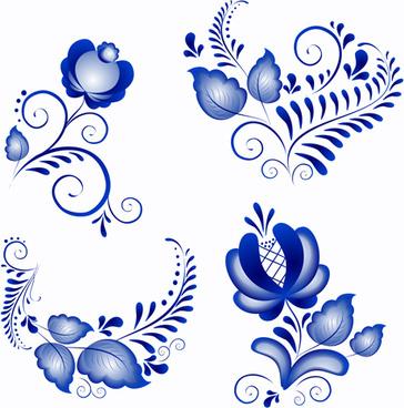 Shiny Blue Flower Ornaments Vector