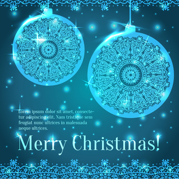 shiny blue merry christmas cards design vector
