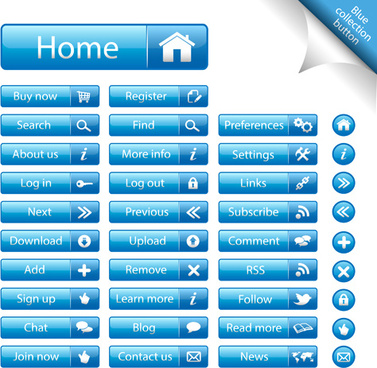 shiny blue web buttons vectors pack