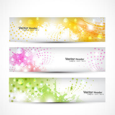 shiny bokeh background vector headers set