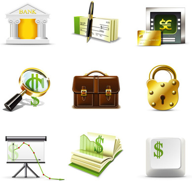 shiny business with finance icons