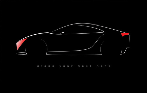 shiny car black background design vector