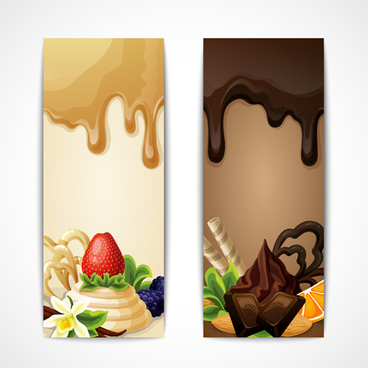 shiny chocolate and sweets vector banners