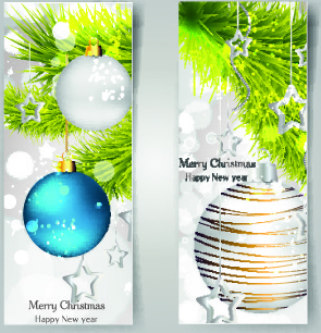 shiny christmas balls banner design vector