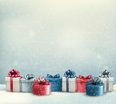 shiny christmas gift package vector background