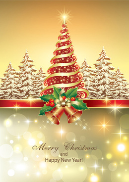shiny christmas tree and bells vector background