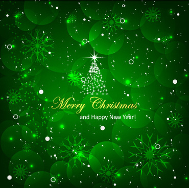 shiny christmas tree with green background vector
