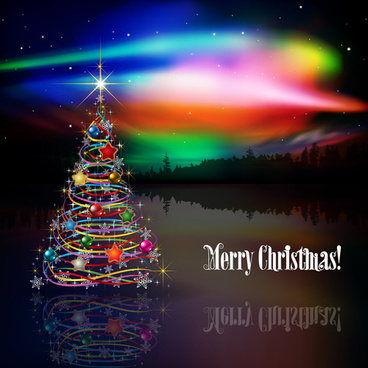 shiny christmas tree with rainbow vector background