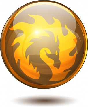 shiny circle medal template fire dragon icon decoration