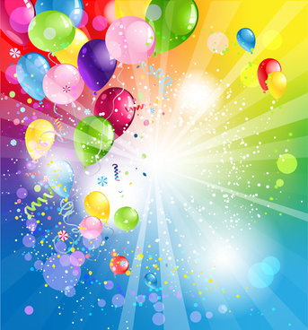 shiny color balloons vector