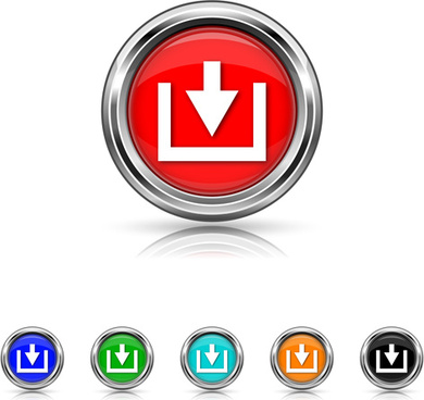 shiny colored arrows button vector