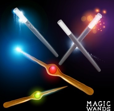 shiny colored magic wands vector background