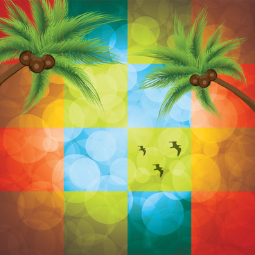 shiny colored square with coconut tree background vector