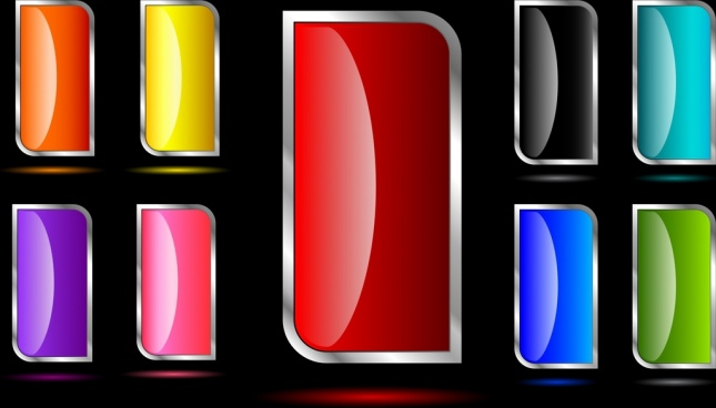 shiny colorful button collection vertical rounded design