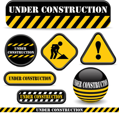 shiny construction warning sign vector