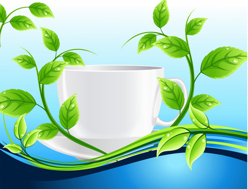 shiny cup and green leaves vector background