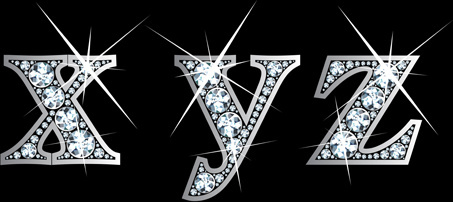 shiny diamond letters vector