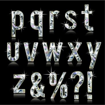 shiny diamond letters vector