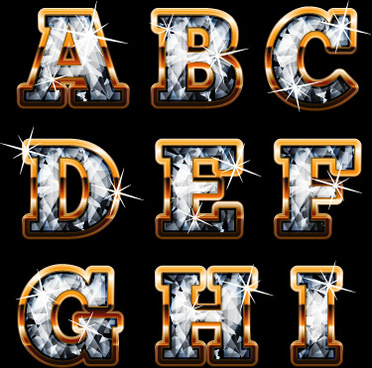 shiny diamond with golden alphabet vectors