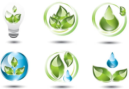 shiny ecology logos vector
