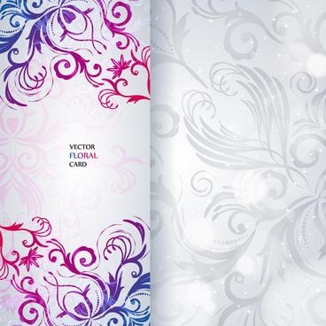 shiny floral invitations card design vector set