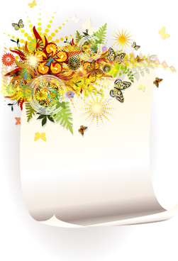 shiny floral with paper background vector