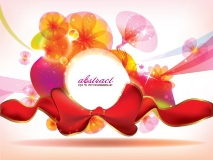 shiny floral with red ribbon background vector