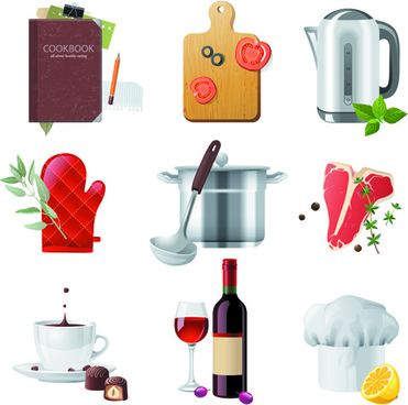 shiny food cooking icons vector