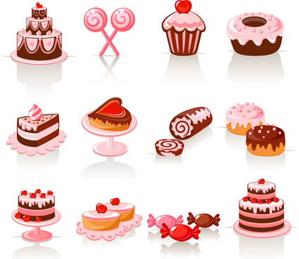 shiny food vector icons